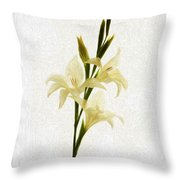 White Gladiolus Mixed Media Painting Throw Pillow