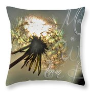 001 Make A Wish At Sunset With Text Throw Pillow