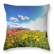 001 Niagara Falls Misty Blue Series Throw Pillow