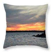 0011 Awe In One Sunset Series At Erie Basin Marina Throw Pillow
