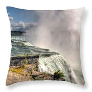0011 Niagara Falls Misty Blue Series Throw Pillow