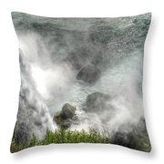 0012 Niagara Falls Misty Blue Series Throw Pillow