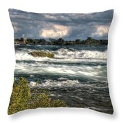 0015 Niagara Falls Misty Blue Series Throw Pillow
