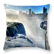0016 Niagara Falls Winter Wonderland Series Throw Pillow