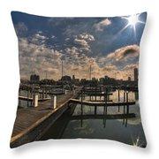 002 Erie Basin Marina D Dock Throw Pillow