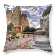 003 Sleeping Lions City Hall View  Throw Pillow