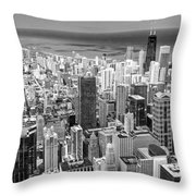 0036 Chicago Skyline Black And White Throw Pillow