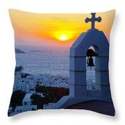 0209 Mykonos Sunset Throw Pillow