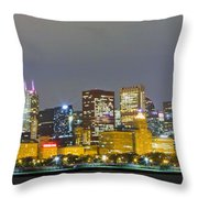 0247 Chicago Skyline Panoramic Throw Pillow