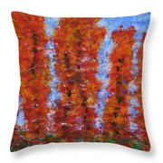 026 Red Trees Throw Pillow