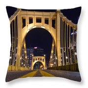 0304 Roberto Clemente Bridge Pittsburgh Throw Pillow by Steve Sturgill