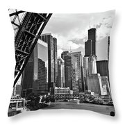 0365 North Branch Chicago River Black And White Throw Pillow
