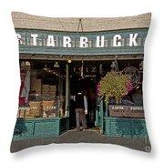 0370 First Starbucks Throw Pillow