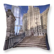0499 Trump Tower And Wrigley Building Chicago Throw Pillow