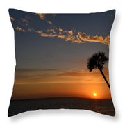 0502 Palms With Sunrise Colors On Santa Rosa Sound Throw Pillow