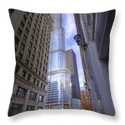 0527 Trump Tower From Wrigley Building Courtyard Chicago Throw Pillow