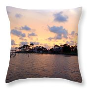 0530 Sunset Tree Silhouette Reflections Throw Pillow