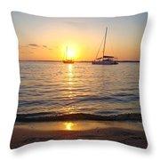 0531 Sailboats At Sunset On Sound Throw Pillow