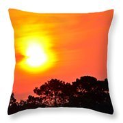 0601 Sunrise Over Silhouette Trees Throw Pillow