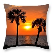 0602 Pair Of Palms At Sunrise Throw Pillow