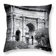 0791 The Arch Of Septimius Severus Black And White Throw Pillow
