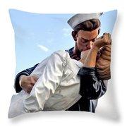 Closeup Nurse And Sailor Kissing Statue Unconditional Surrender Throw Pillow