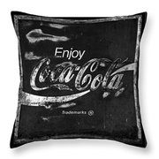 Coca Cola Sign Black And White Throw Pillow