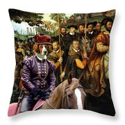Irish Red And White Setter Art Canvas Print  Throw Pillow