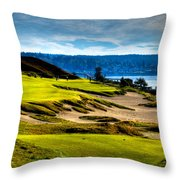 #16 At Chambers Bay Golf Course - Location Of The 2015 U.s. Open Tournament Throw Pillow by David Patterson
