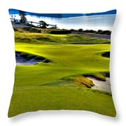 #17 At Chambers Bay Golf Course - Location Of The 2015 U.s. Open Championship Throw Pillow by David Patterson