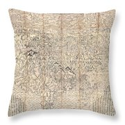 1710 First Japanese Buddhist Map Of The World Showing Europe America And Africa Throw Pillow
