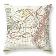 1772 Vaugondy  Diderot Map Of Alaska The Pacific Northwest And The Northwest Passage Throw Pillow