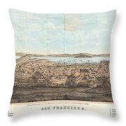 1856 Henry Bill Map And View Of San Francisco California Throw Pillow