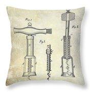 1876 Corkscrew Patent Drawing Throw Pillow