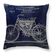 1901 Motorcycle Patent Drawing Blue Throw Pillow