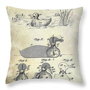 1902 Duck Decoy Patent Drawing Throw Pillow
