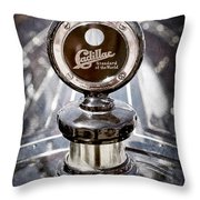 1911 Cadillac Roadster Hood Ornament - Moto Meter Throw Pillow