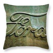 1912 Ford Hood Ornament - Emblem -0496bw Throw Pillow