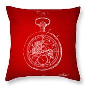 1916 Pocket Watch Patent Red Throw Pillow