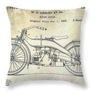 1924 Harley Davidson Motorcycle Patent  Throw Pillow