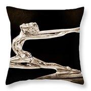 1934 Buick Goddess Hood Ornament Throw Pillow