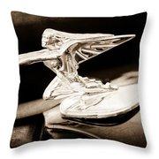 1935 Packard Hood Ornament - Goddess Of Speed Throw Pillow