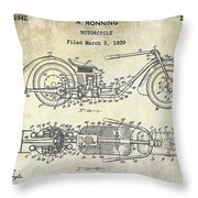 1939 Motorcycle Patent Drawing Throw Pillow