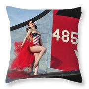 1940s Style Pin-up Girl Standing Throw Pillow