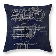 1950 Motorcycle Patent Drawing Blue Throw Pillow