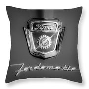 1950's Ford F-100 Fordomatic Pickup Truck Hood Emblems Throw Pillow