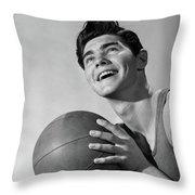 1950s Smiling Boy Holding Basketball Throw Pillow