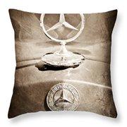 1953 Mercedes Benz Hood Ornament Throw Pillow