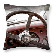 1954 Jaguar Xk120 Roadster Steering Wheel Emblem Throw Pillow