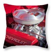 1955 Chevrolet 210 Engine Throw Pillow